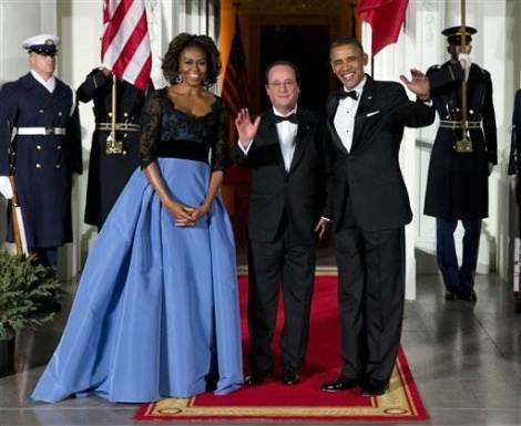 Michelle Obama wears Carolina Herrera gown at state dinner